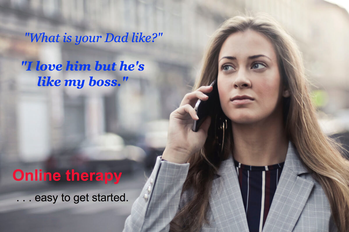 A woman talking to an online therapist about father authority issues.